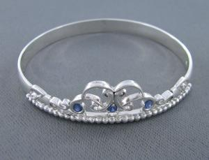 Silver Crown Bangle with Sapphires and Diamonds